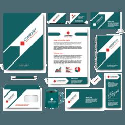 Dark Green Geometric Corporate Identity Kit