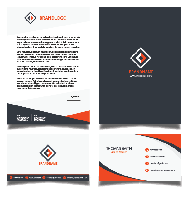 Orange and Black Corporate Identity Kit